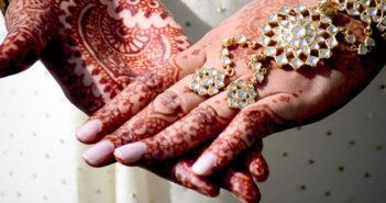 Indian wedding with mehndi on hands
