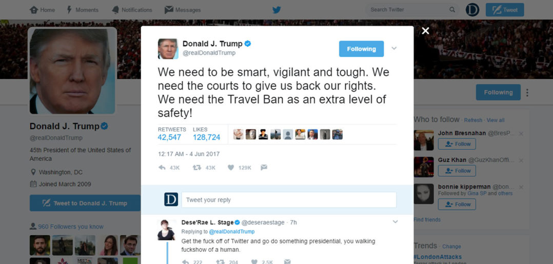 Trump Terror Attack Travel Ban Tweet